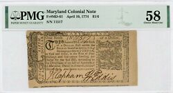 Md-61 April 10 1774 1/6 Maryland Colonial Currency Note - Pmg Ch.au 58