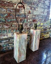 Vermont Marble Company Variegated Pink And White Mid Century Lamps. Pair. Mcm