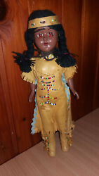 Vintage Native American Cultural Indian Girl With Baby Plastic Doll Yugoslavia