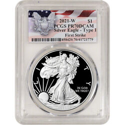2021 W American Silver Eagle Proof - Pcgs Pr70 Dcam First Strike Red Flag Label