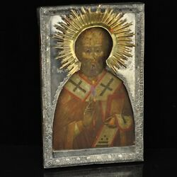 Antique Russian Cypress Wood Icon Of St. Nicholas Silver Cover Gilt