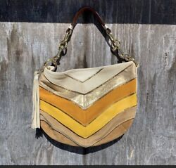 Coach Limited Edition Chevron Leather Suede Purse