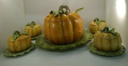 Fitz And Floyd Vegetable Garden Pumpkin Soup Tureen With Ladle And Underplate