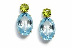 A And Furst - Party - Drop Earrings With Peridot And Blue Topaz 18k Yellow Gold