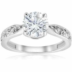 14k White Gold 1 1/2ct Solitaire Vintage Scroll Clarity