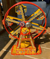 Vtg J. Chein And Co. Wind Up Tin Litho Ferris Wheel 172 Hercules Toy