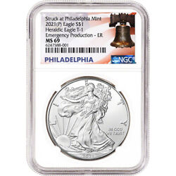 2021-p American Silver Eagle - Ngc Ms69 Early Releases Emergency Production