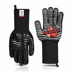 Glove Station The Griller Heat Resistant Bbq Gloves, Insulated One-size black