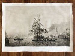 Felix Ziem 'the Kick Canon » Large Engraving Antique In L' Water Forte,signed