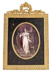 """Antique Portrait Painting Of Queen Louise Of Prussia 5""""x 3.5"""""""