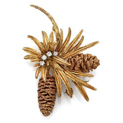 Pine Cone Brooch With 0.17ctw Diamond Accents In 18k Yellow/ Rose Gold