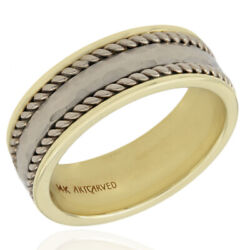 Gentlemans Hammered Rope Edge Ring In 14k Yellow Gold/ Sterling Silver