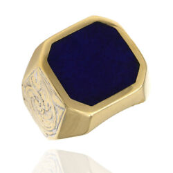 Octagon Top Lapis Ring With Scroll Sides In 18k Yellow Gold