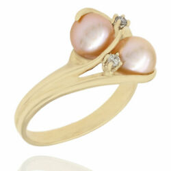 7.0mm Cream Rose Pearl And 0.02ctw Diamond Accent Ring In 14k Yellow Gold