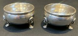 1481-pair Of Antique Sterling Silver Salt And Pepper Bowl