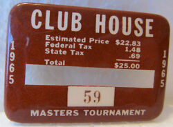 1965 Used Masters Golf Clubhouse Badgecollectorsvery Very Rare Ticketnicklaus