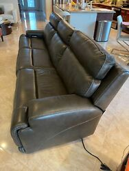 Recliner Sofa Ku Valor Gray Leather Power Recliner Sofa - Extra Wide Seating