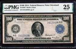 Fr.1097 1914 100 Cleveland Frn Burke-glass Pmg 25 Super Rare Collectible Note
