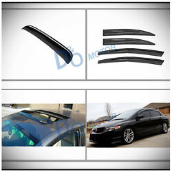 For 06-11 Civic 5pcs Jdm Mgen Style Shade Window Visors+sun/moon Roof Shield