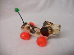 Vintage 1968 Fisher Price Little Snoopy Dog Wood Pull Toy 693 Missing String