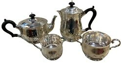 Rare Arts And Craft Sterling Silver 4 Piece Tea Coffee Set By Charles Edwards