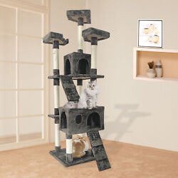 65quot; Multi Level Cat Tree 2 Condos and 3 Perches Climber Tower Furniture