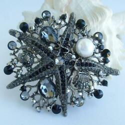Vintage Starfish Brooches Pins Pearl,black And Diamond 4.30 Ct 14k Black Gold Over