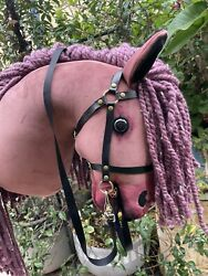 Dusty Pink Hobby Horse With Long Yarn Hair And Open Mouth And Removable Bridle