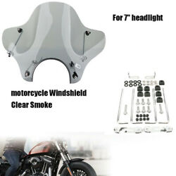 Universal Motorcycle Windshield Windscreen With Mounting Kit Plastic For Cruiser