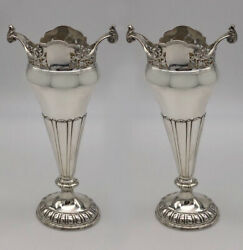 Stunning Pair Of Antique Silver Vases, Hallmarked In 1918. A Unique Gift