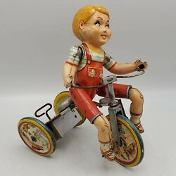 Vintage Kiddy Cyclist Wind Up Tin Litho Tricycle Toy By Unique Art Mfg. Read