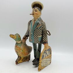 Vintage 1930 Marx Joe Penner And His Duck Goo Goo Tin Litho Wind Up Toy Read
