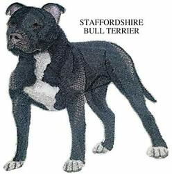 Staffordshire Bull Terrier Dog Embroidered Iron On Sew Patch 5quot; x 4.5quot;