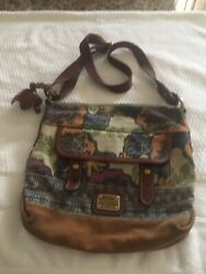 Fossil Long Live Vintage Crossbody Bag Messenger Canvas Brown Floral $25.00