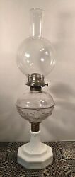 Large Antique Eapg Atterbury Oil Parlor Lamp With Burner And Shade Ca1868-1873