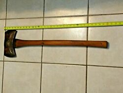 Vintage Double Bit Axe Head With A Double Oval Craftsman Logo W/ Original Handle