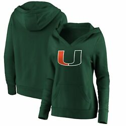 Miami Hurricanes Majestic Womenand039s Primary Logo V-neck Pullover Hoodie - Green