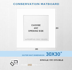 30x30 Conservation Matboard With Custom Opening Super White/ Jet Black