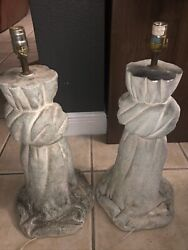 Pair Of Architectural Scale Plaster Sculpture Lamps Marked Bon Art 1992
