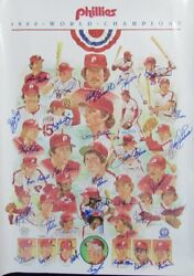 1980 World Series Champs Phillies Poster Signed By 33 Schmidt Mcgraw Jsa 158926