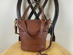 Fossil Amelia Small Bucket Leather Crossbody Bag Brandy Brown EUC $62.00