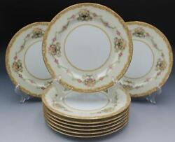 Noritake Porcelain Set Of 9 Salad Plates Cream And Floral Swags W/ Gold Trim