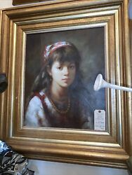 """Stunning Oil Painting On Canvas, Portrait Of Girl Unsigned, Framed 34"""" X 37"""""""