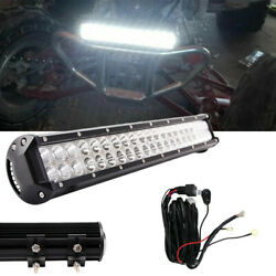 17inch 108w Led Work Light Bar Combo Dual Row Off-road Fits Jeep Bumper + Wiring