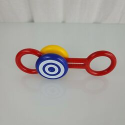Vintage Ndci Johnson And Johnson Playpath Infant Baby Plastic Rattle Toy Red Blue