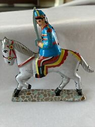 Vintage Litho Horse With Soldier Tin Toygermany- Part Of Another Toy