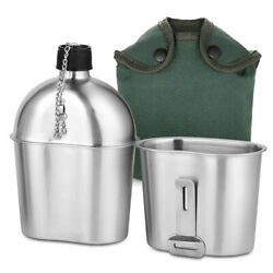 Outdoor Stainless Steel Military Canteen Cup Tactical Survival Kettle W/bag O7s0