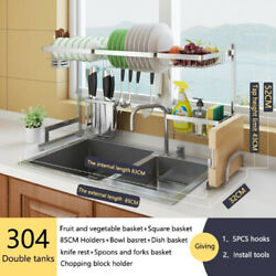 Stainless Steel Kitchen Cutlery Holder Over Sink Dish Drying Rack Drainer Shelf
