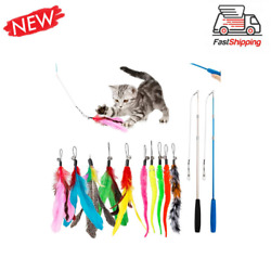 Jiaron Feather Teaser Cat Toy, 2pcs Retractable Cat Wand Toys And 10pcs Teaser