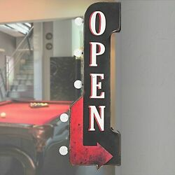 Vintage Old Fashioned Retro Metal Open Sign 3-d Double-sided Led Lighted Marquee